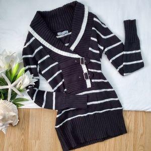 **WINTER READY** B&W Striped Sweater Dress*